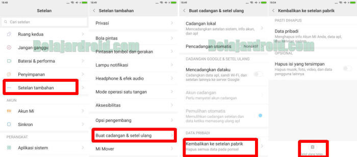 Gambar Factory Reset Redmi Note 7 Menu Pengaturan