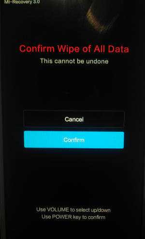 confirm wipe data Redmi Note 4
