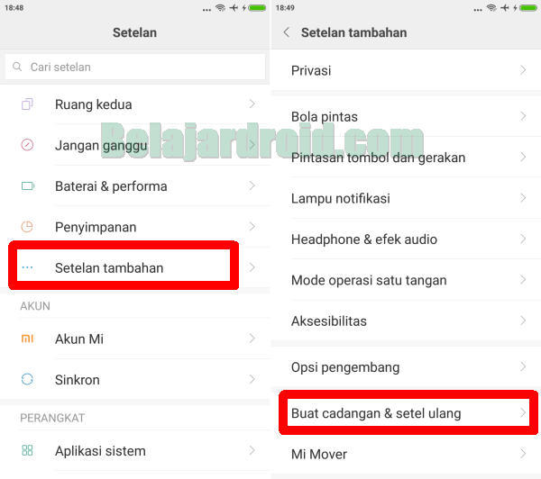 menu setel ulang Redmi Note 8
