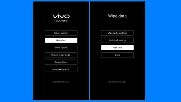 Wipe Data Vivo Recovery