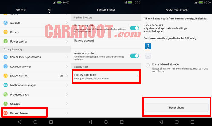 Reset Huawei Android Lollipop