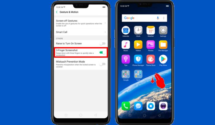 Cara Screenshot Oppo Tiga Jari